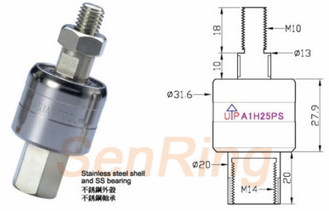 a1h25ps series A1H25PS Series Mercury Slip Ring(1circuits@250A Power Current) mercury slip ring Drawing
