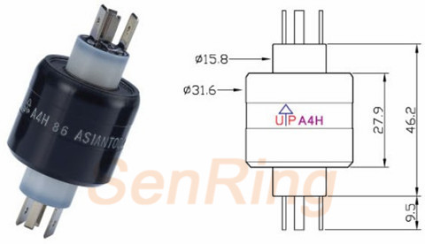 a4h series A4H Series Mercury Slip Ring(2circuits@30A Power+2circuits Signal@4A) mercury slip ring Drawing
